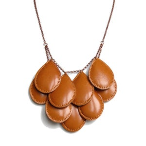Image of Pepitas, Leather Necklace, Ochre