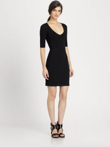 Image of THEORY -FITTED BLACK DRESS W/ SIDE TEXTURED DETAIL