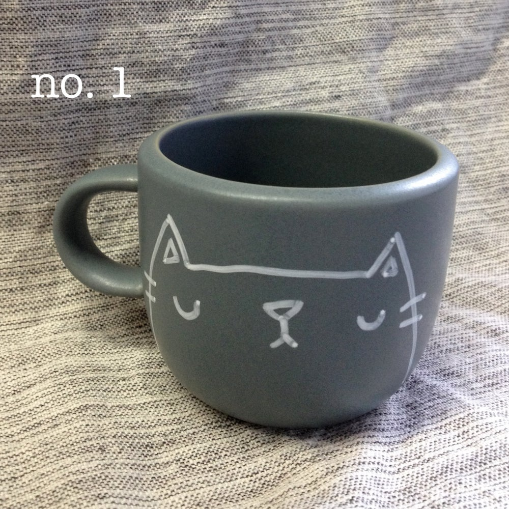 Image of mini kitteh mugs #1 & #2 -- made to order