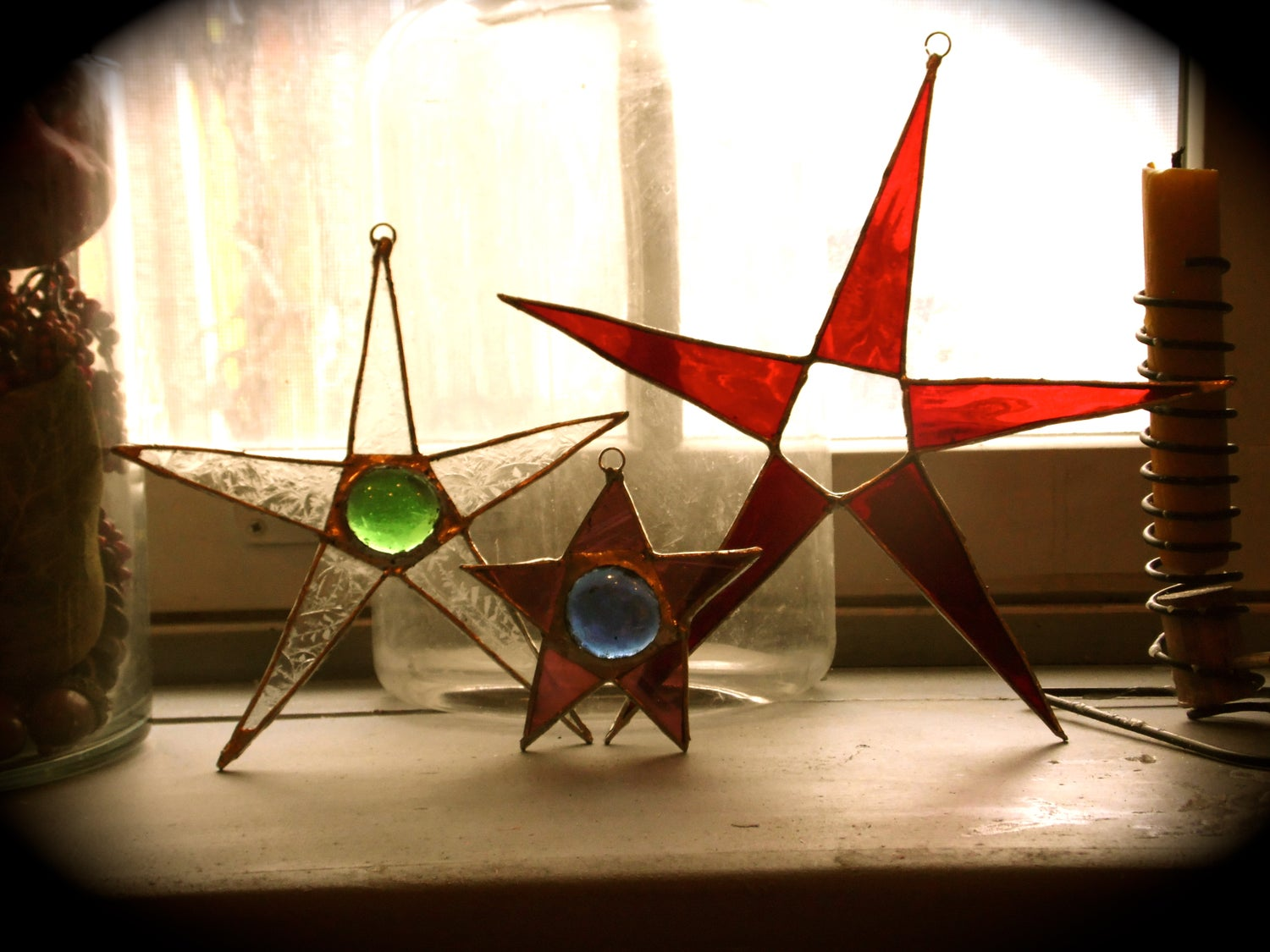 Image of Sets of 3 Stars#1-stained glass