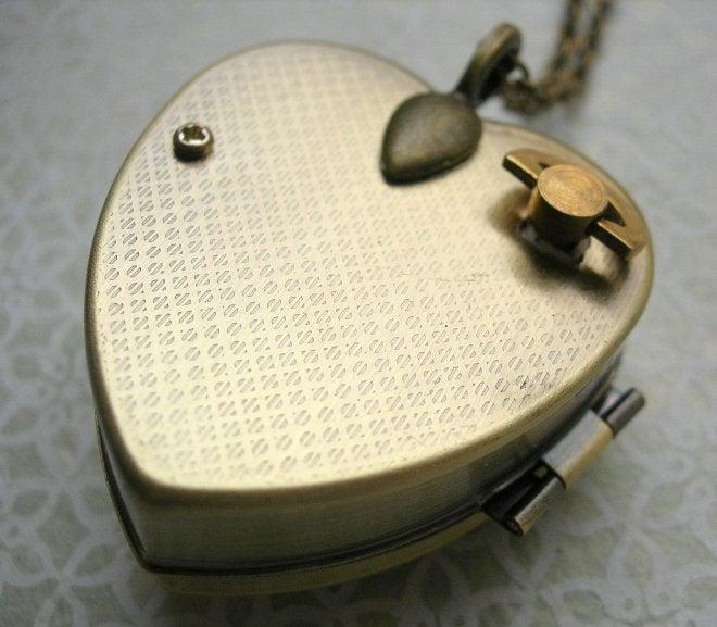 Image of Woodland Deer miniature music box locket - brown floral