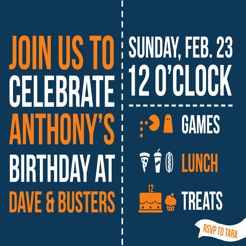 Dave And Busters Custom Invitations