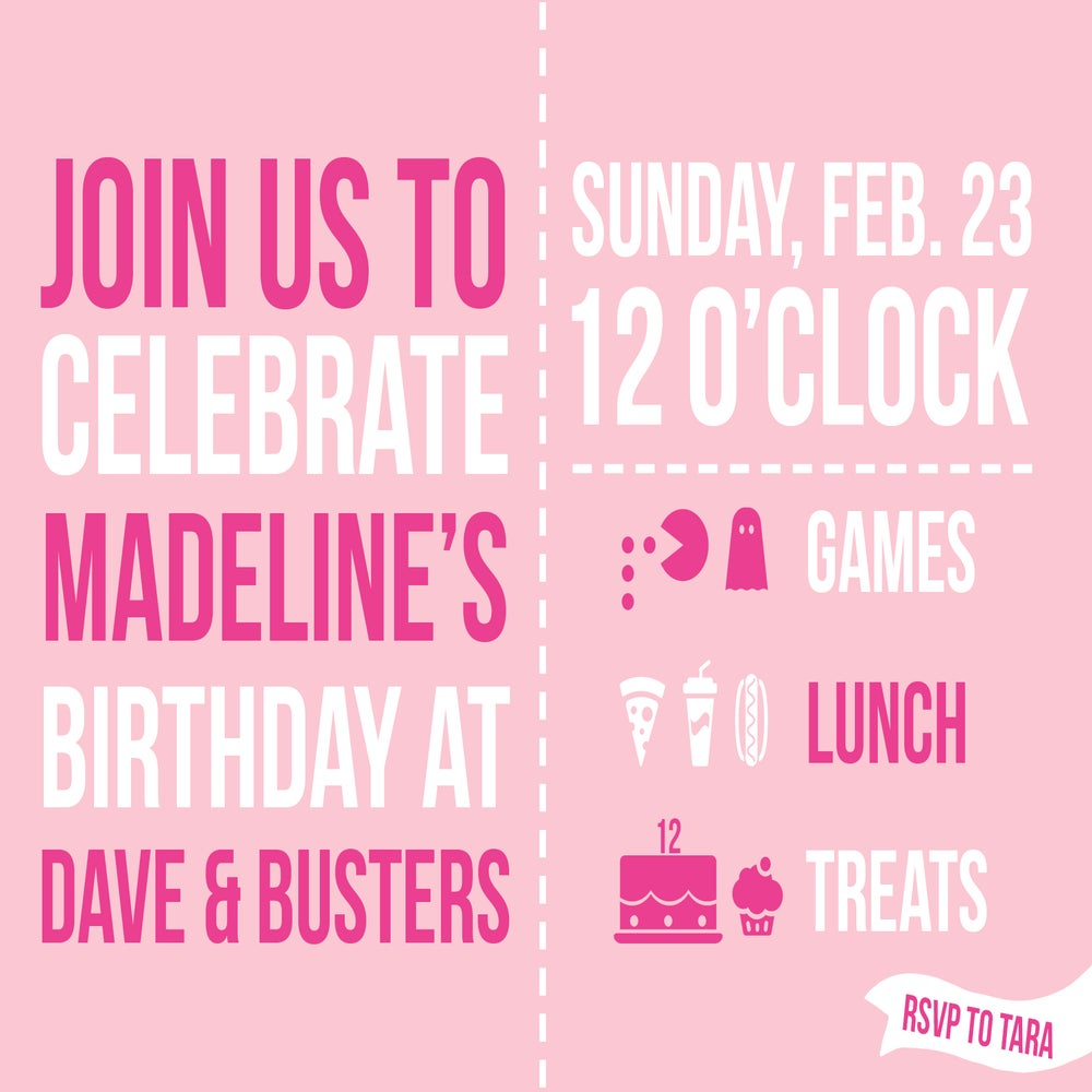Dave And Busters Birthday Invitations