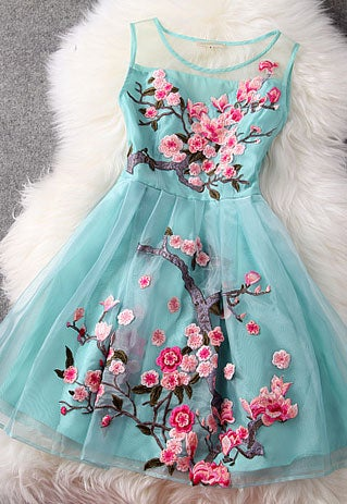 Image of [ghyxh36105]Flower Embroidery Mesh Tank Top Spring Skater Dress
