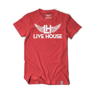 Image of Classic LH Wing Tee (White on Red)