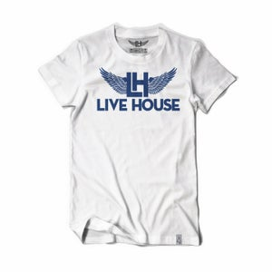 Image of Classic LH Wing Tee (Navy Blue on White)