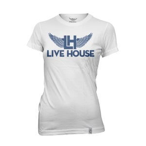 Image of Female Classic LH Wing Tee (Navy Blue on White)