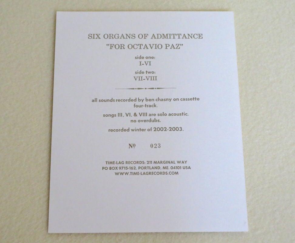 Image of SIX ORGANS OF ADMITTANCE ~ FOR OCTAVIO PAZ ~ lp (TIME-LAG 014)