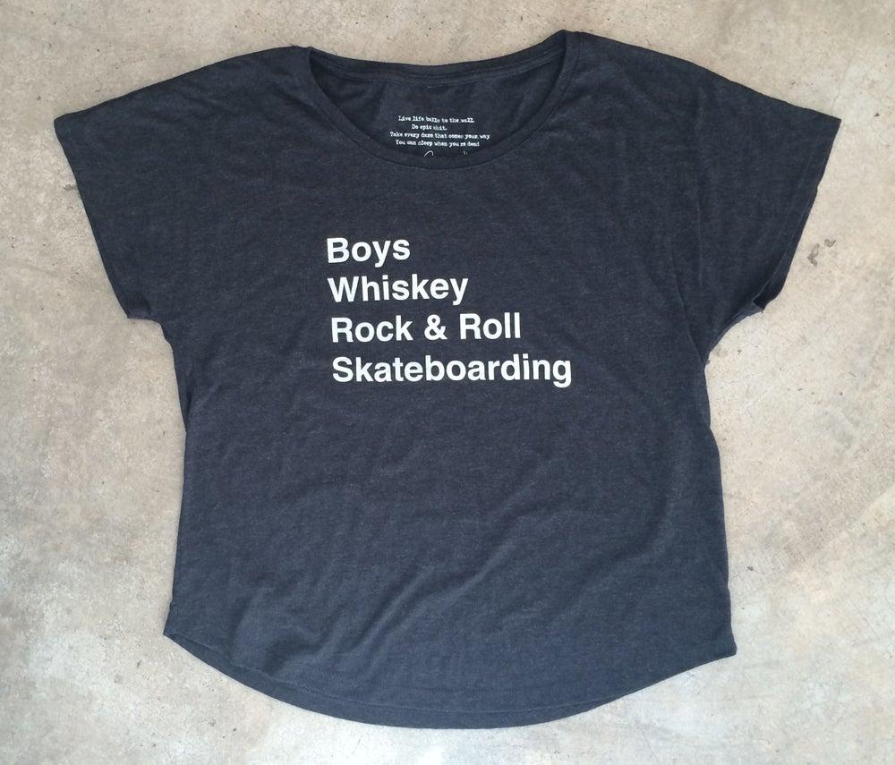 Image of Whiskey, Rock & Roll, Skateboarding Tee