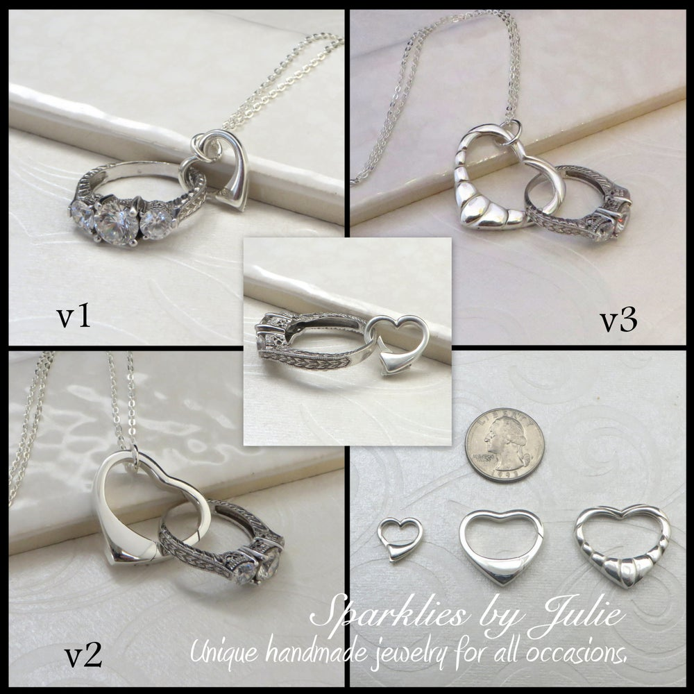 Sparklies by julie floating heart pendant sterling silver floating heart pendant sterling silver heart necklace weddingengagement ring holder mozeypictures Image collections