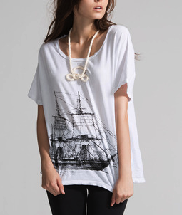 "Image of ""HMS Beagle"" Oversize Dolman with Attached Necklace"