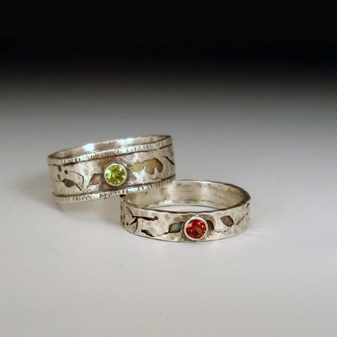 Image of Romantic Wildflower Wedding Bands