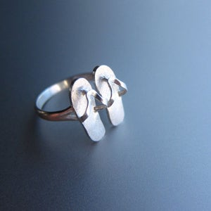 Image of Summer Flip-Flops Sandals Ring - Handmade Sterling Silver Ring