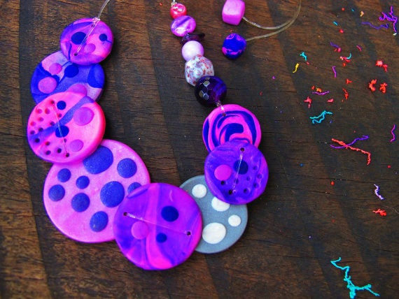 Image of Clay Necklace - Purple Spotty