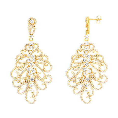 Image of Ladies Fleour Drop Earrings