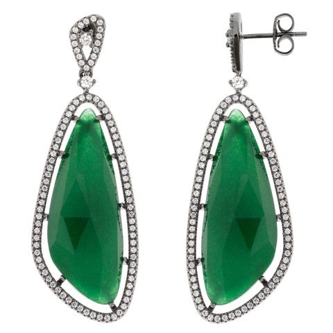 Image of Ladies Jade Sail Drop Earrings