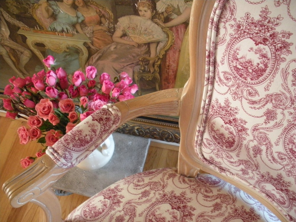 Image of Raspberry Toile Chair