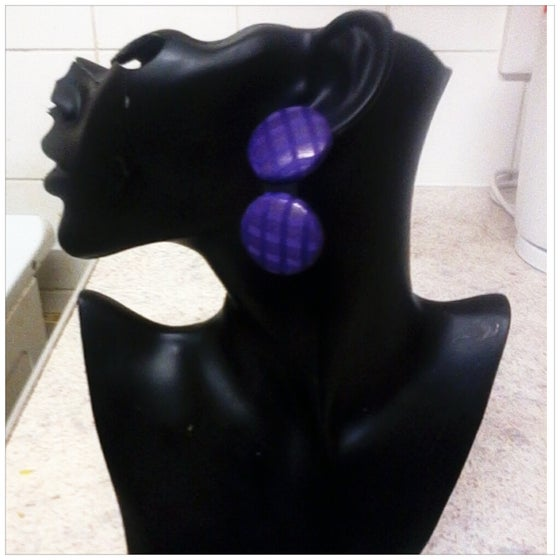 Image of Vekras Purple Fever Dangle Stud Earrings