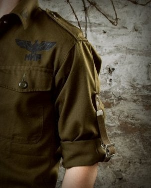 Image of SH27 [FLYING SKULL] Vintage Military Surplus BDU Shirt w/ Sleeve Straps