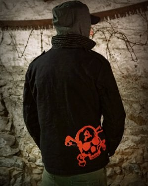 Image of SH133 [RED SKULL] Black German BDU Jacket