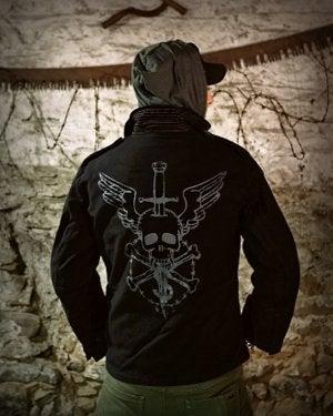 Image of SH134 [FLYING SKULL] Black German BDU Jacket