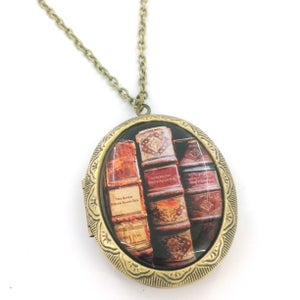 Image of Edgar Allan Poe Books Cameo Locket Necklace