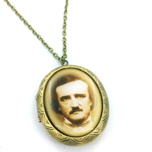Image of Edgar Allan Poe Portrait Cameo Locket Necklace