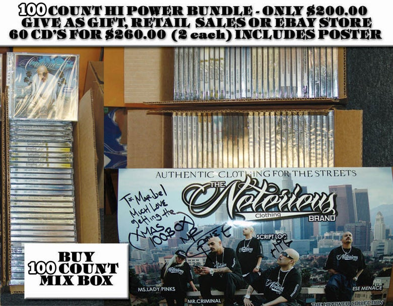 Image of 100 COUNT BOX OF ASSORTED HI POWER CD'S