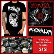 """Image of Limited T-Shirt, CD, 1"""" Button, Vinyl Sticker Package"""