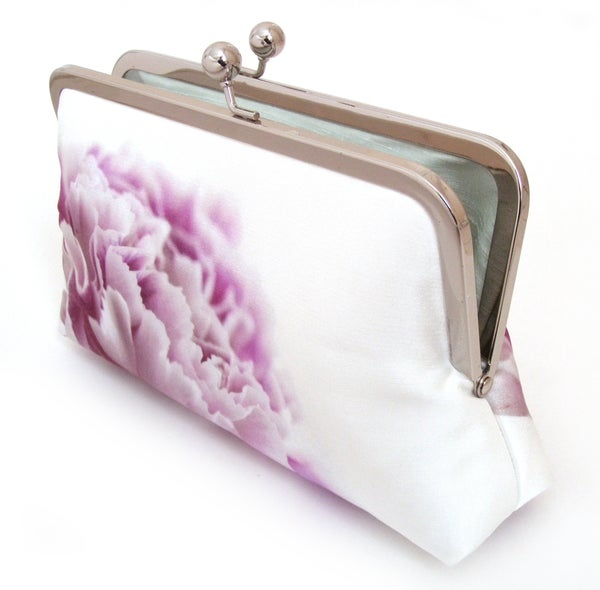 Pink carnation clutch bag, silk purse, pink petals, wedding purse  - Red Ruby Rose