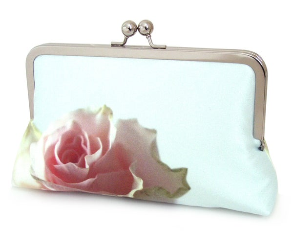 Mint rose clutch bag, silk purse, pink rose petals, wedding purse - Red Ruby Rose
