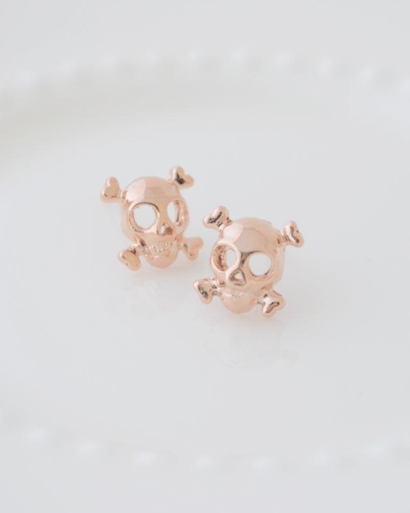 Image of Cool Rose Gold Skull Earrings