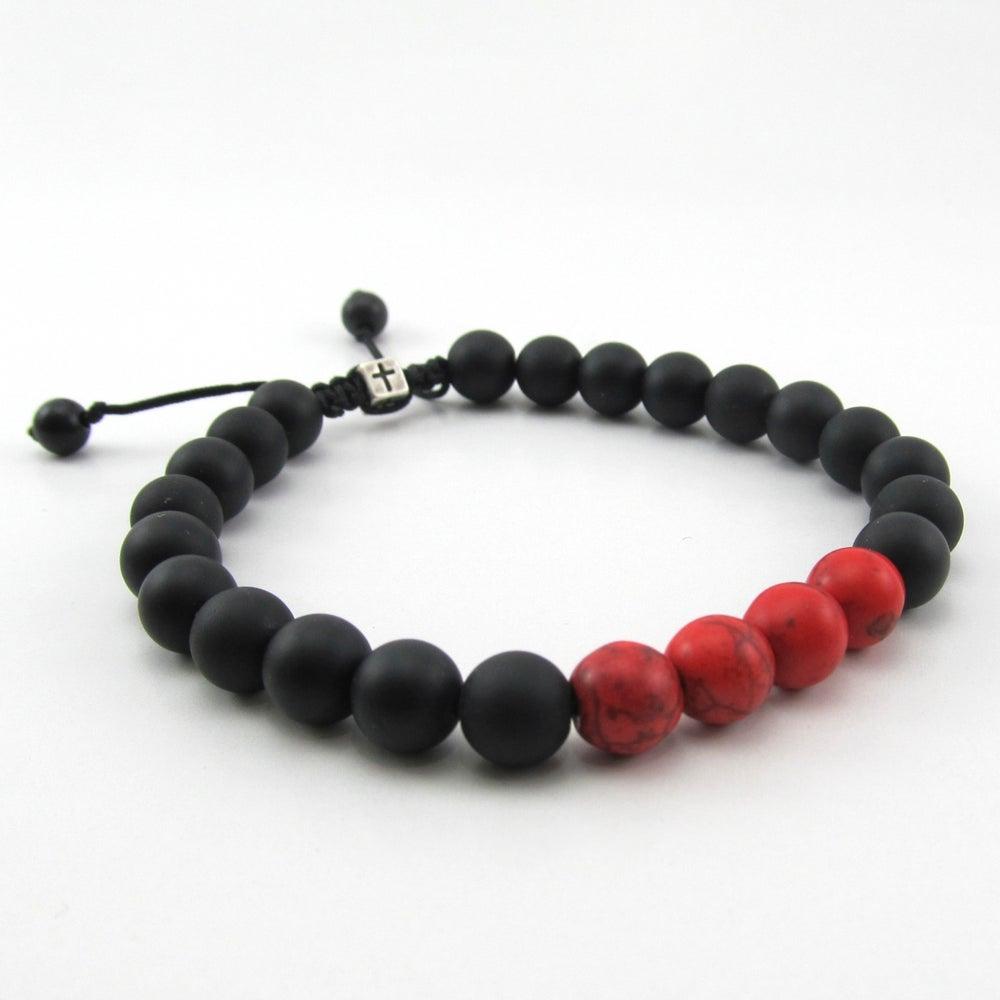 Image of Matt hematite and red howlite adjustable personalised bracelet