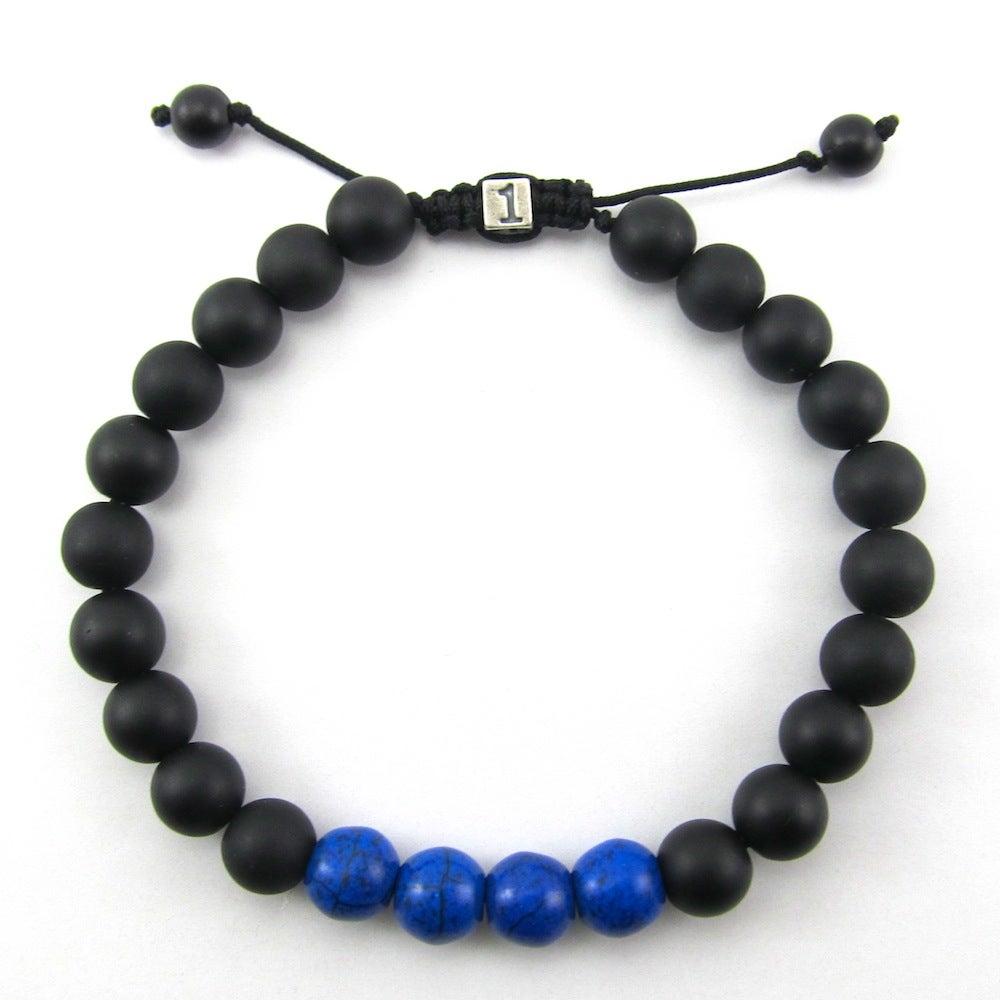 Image of Matt hematite and blue howlite adjustable personalised bracelet