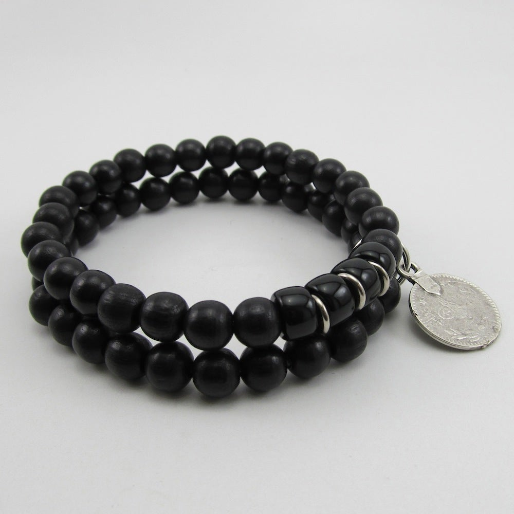 Image of Black double beaded bracelet with silver coin
