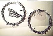 Image of Distressed Denim Hoop Earrings