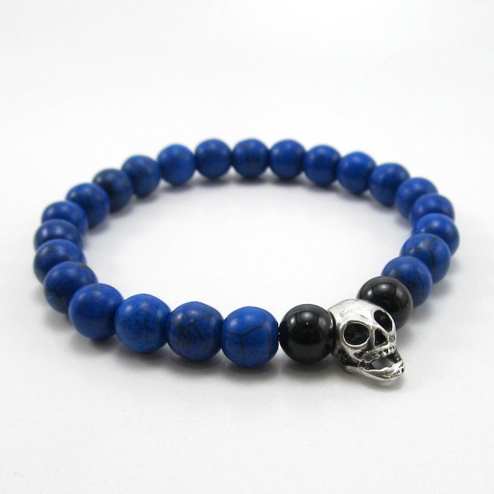 Image of Blue howlite and skull beaded bracelet