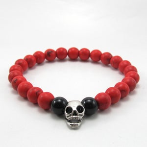 Image of Red howlite and skull beaded bracelet
