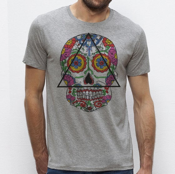 Image of T-shirt gris homme Santa Muerte mexican skull