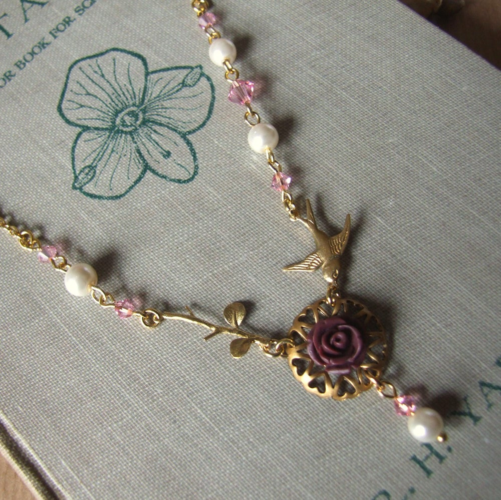 """Image of """"SHADES OF A ROSE"""" Delicate Crystal and Rose Necklace"""