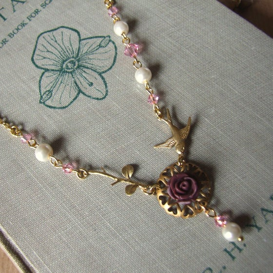 "Image of ""SHADES OF A ROSE"" Delicate Crystal and Rose Necklace"