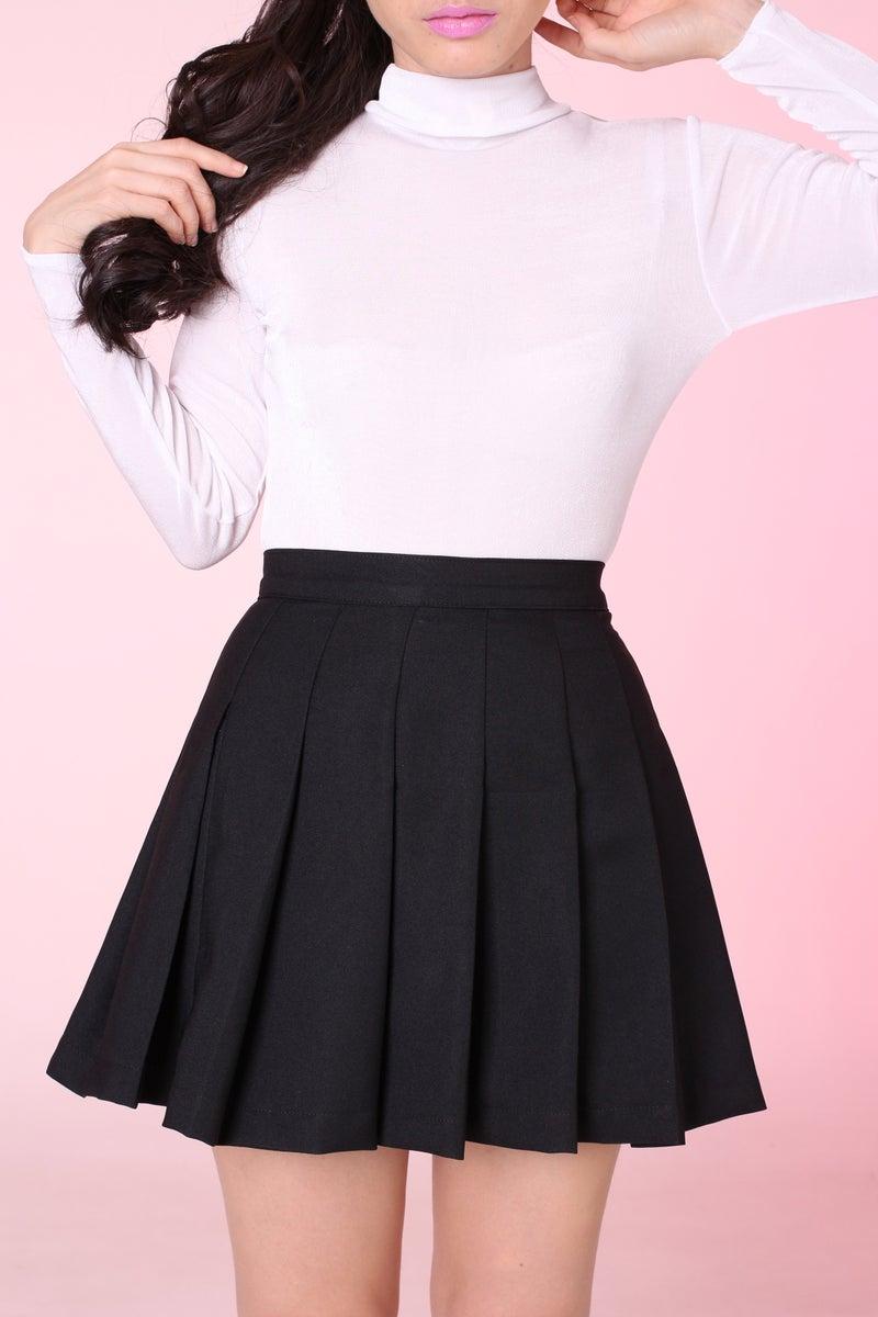 Glitters For Dinner u2014 MADE TO ORDER - Black Pleated Cheer Skirt