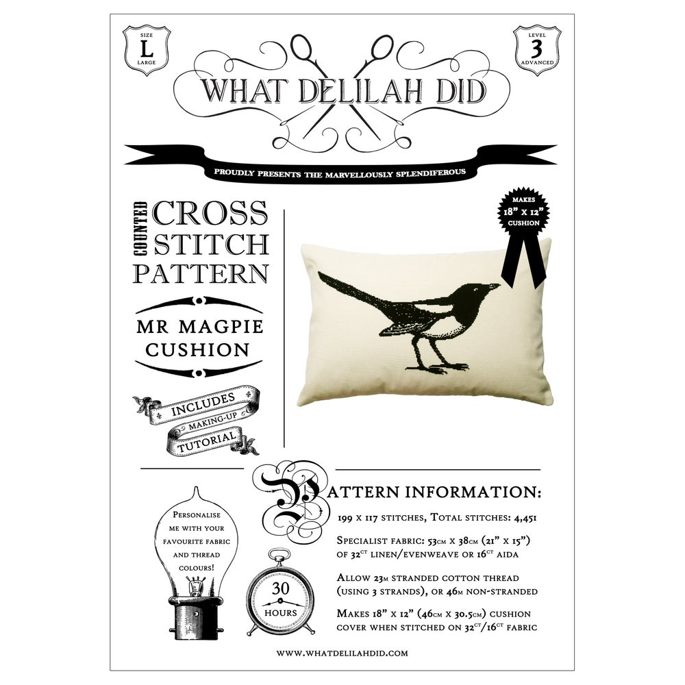 Image of Mr Magpie Cushion PDF Pattern