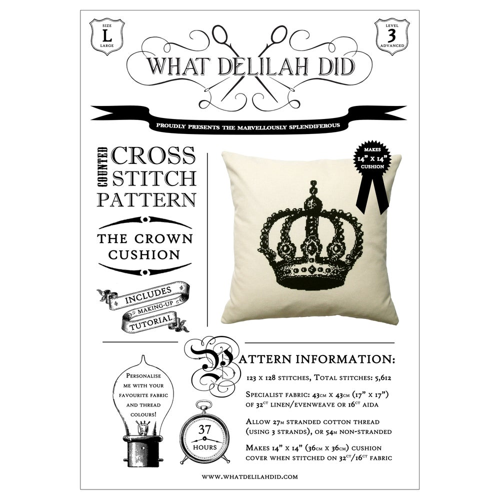 Image of The Crown Cushion PDF Pattern