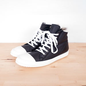Image of Rick Owens - Shearing Leather Ramones High-top Sneakers
