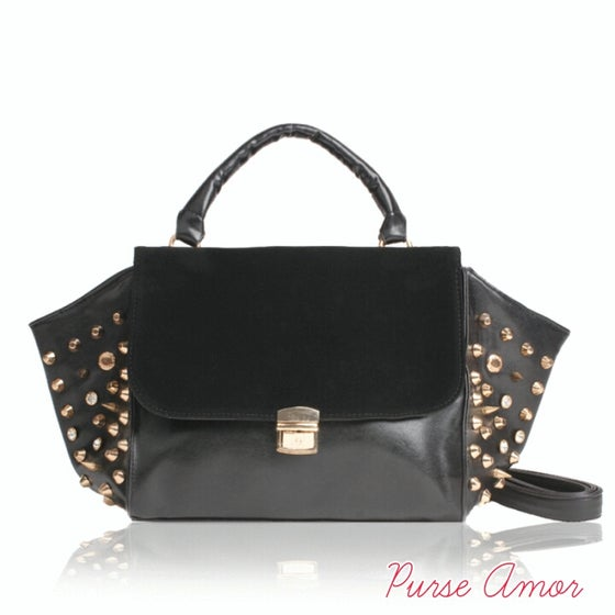 "Image of ""I'm loving your studs"" Black Tote"