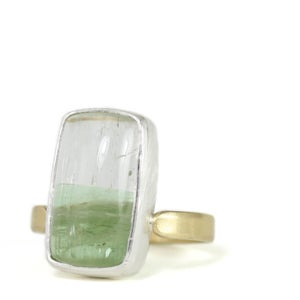 Image of ONE OF A KIND bicolor tourmaline + sterling silver & 18k gold ring