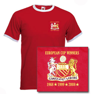 Image of European Cup 3 wins/dates Red Ringer Shirt