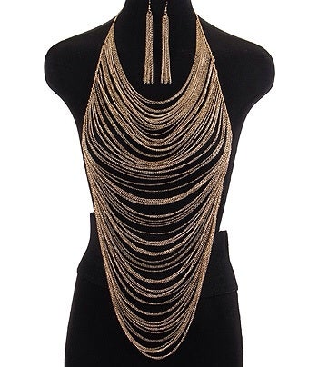 Image of LONG MULTI STRAND NECKLACE SET