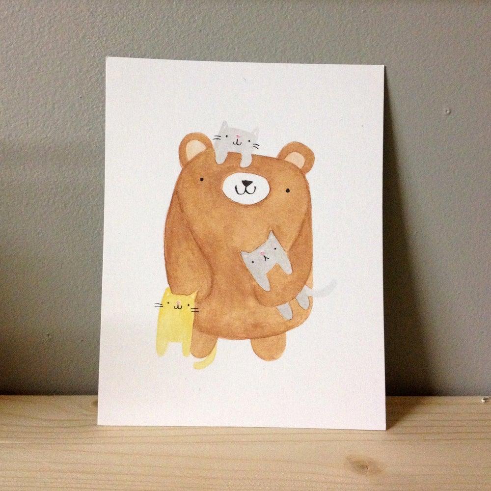 Image of crazy cat bear postcards/print